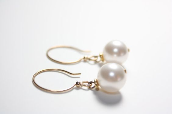 Swarovski White Pearl Earrings Wedding Jewelry Made to by catilla, $24.00