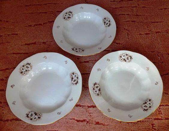 Vintage USSR Latvia Porcelain Riga Factory RPR 3psc. soup plates floral pattern