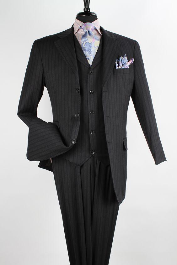 Apollo King Mens 3 Piece Fashion Suit Double Pockets
