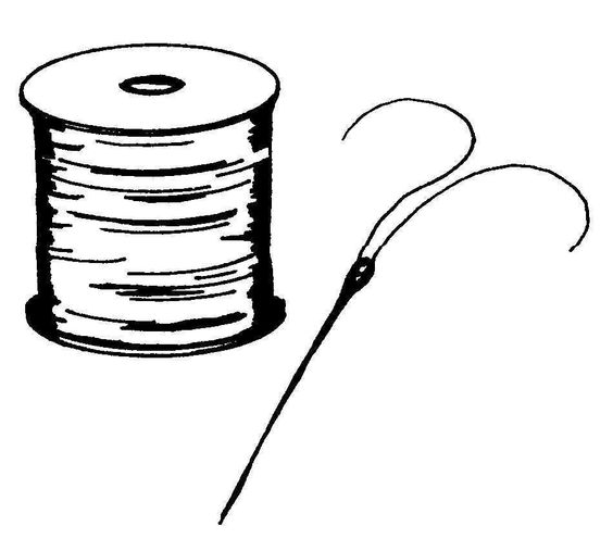 img/dessins-cliparts objets vie quotidienne/bobine de fil et aiguille.jpg