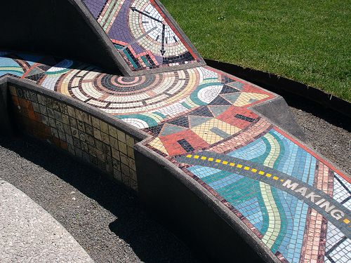 Mosaic-decorated benches can tell a story, provide decoration, and allow for seating.