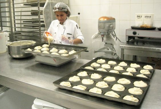 OF&C Pastry Ophelia making her latest and famous Gluten Free Burger Buns