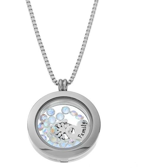 """Blue La Rue Crystal Stainless Steel 1-in. Round """"Family"""" Charm Locket (1.311.000 IDR) ❤ liked on Polyvore featuring jewelry, pendants, grey, stainless steel charms, locket charms, crystal charms, crystal jewelry and heart jewelry"""