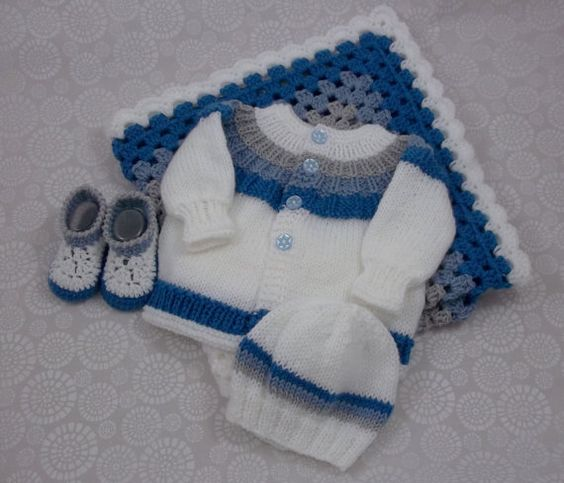 Knitting Patterns Of Baby Sets : Knitted Baby Sweater Set Handmade Baby by PreciousNewbornKnits baby knit ...