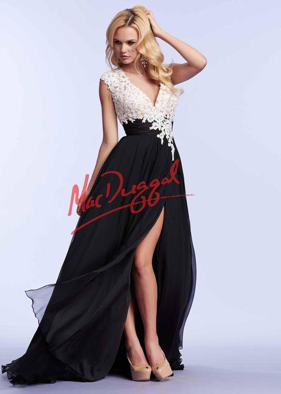 Sexy White Applique Lace Bodice Black Chiffon High Slit Prom Dress 2015
