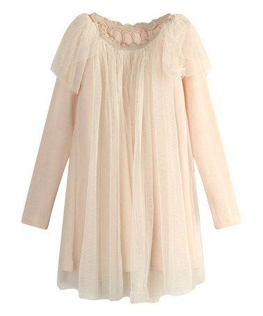 Another great find on #zulily! Ecru Tulle Overlay Dress - Toddler & Girls #zulilyfinds