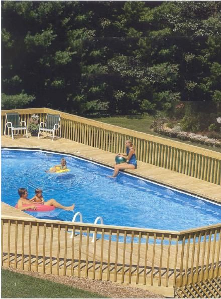 Above ground pool decks above ground oval pool deck for Above ground pool decks video