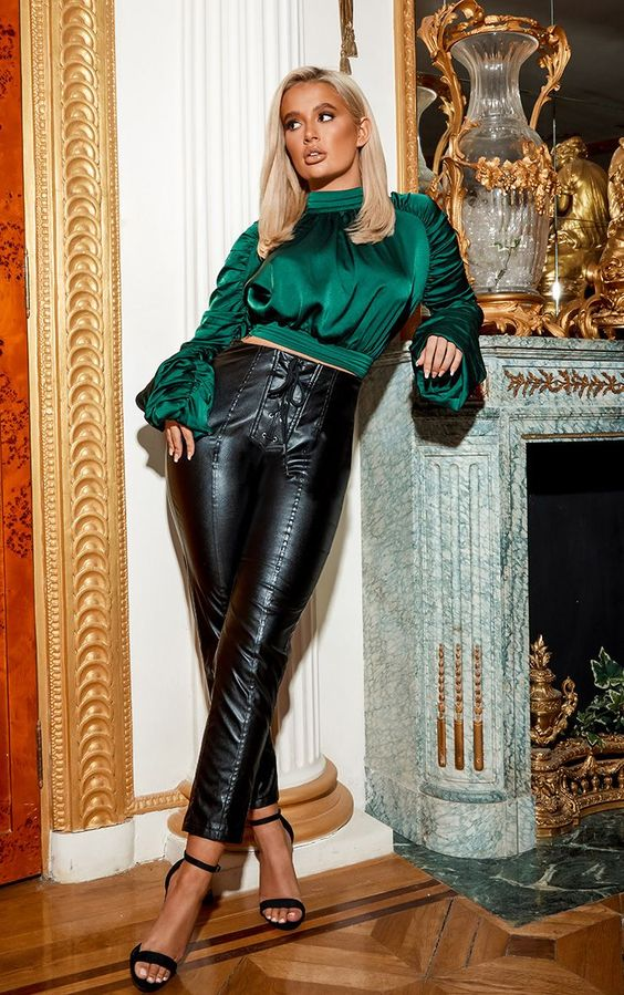 These PU bottoms are essential for the party season. Featuring a black PU material with a lace-up front and zip fastening on the back, team it with a green satin blouse and strappy heels to finish the look.