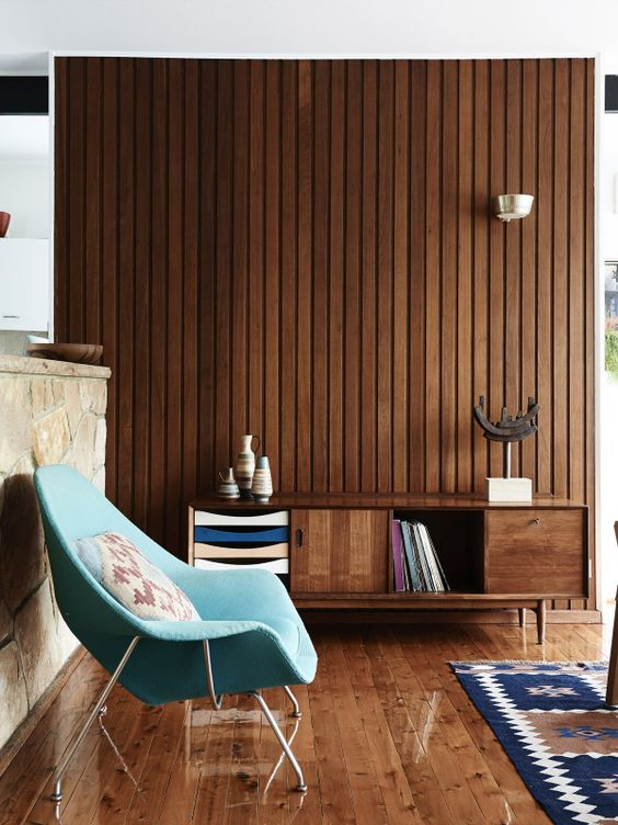 Modern living room with wood paneling