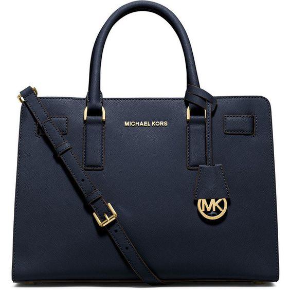 MICHAEL Michael Kors Dillon Saffiano Satchel Bag (2.990 ARS) ❤ liked on Polyvore featuring bags, handbags, navy, satchel style handbags, navy blue purse, navy blue handbags, saffiano leather satchel and navy handbag