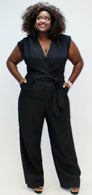 "How sexy is this ""Bianca"" V-Neck Wide Leg Jumpsuit by plus size designer Dama Talya?:"
