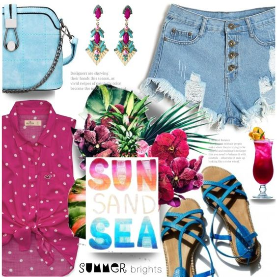 Summer Brights! by wannanna on Polyvore featuring Hollister Co., Garance Doré and summerbrights