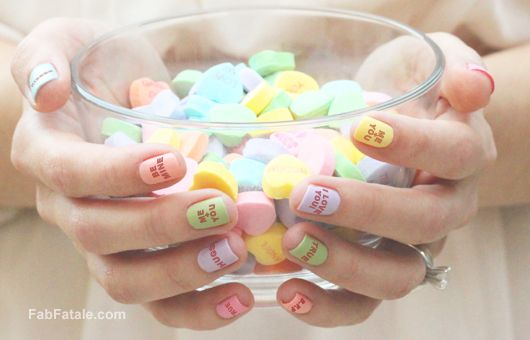 valentine's day manicure - sweethearts candy nail polish #valentines