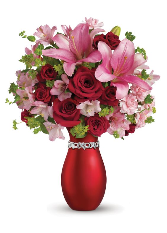 K1V XOXO Enchanting. An enchanting three-in-one gift that will win her heart over and over again. She'll love the romantic design, cherish the chic red vase, and wear the XOXO bracelet for years to come.: