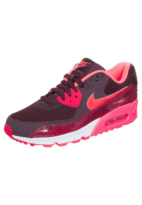 Nike Sportswear AIR MAX 90 - Sneakers laag - deep burgundy/hyper punch/team action red - Zalando.be