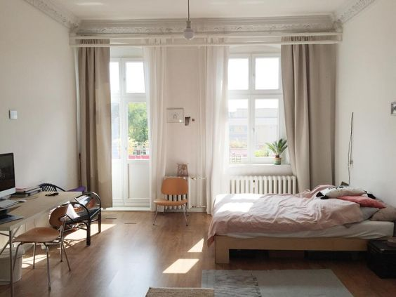 Curtains. High Ceilings.