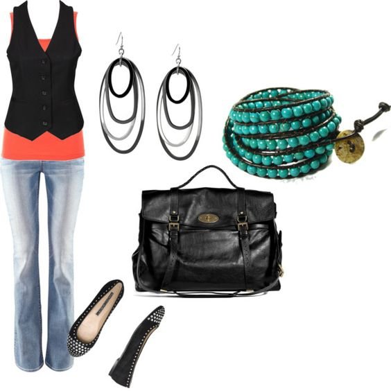 Black, coral, and blue, created by bloomy59 on Polyvore