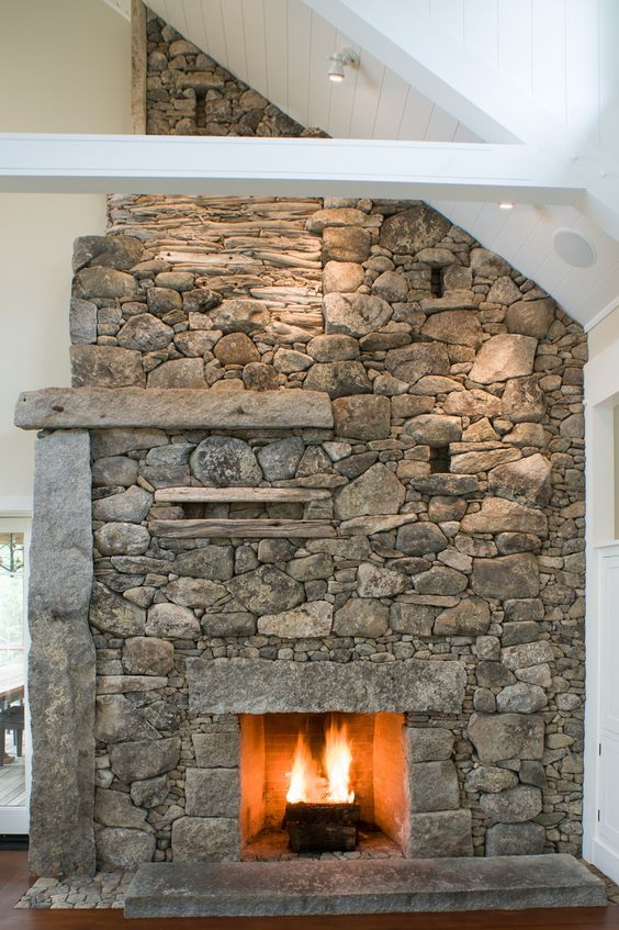 A Beautiful Rustic Stone Fireplace Https Www