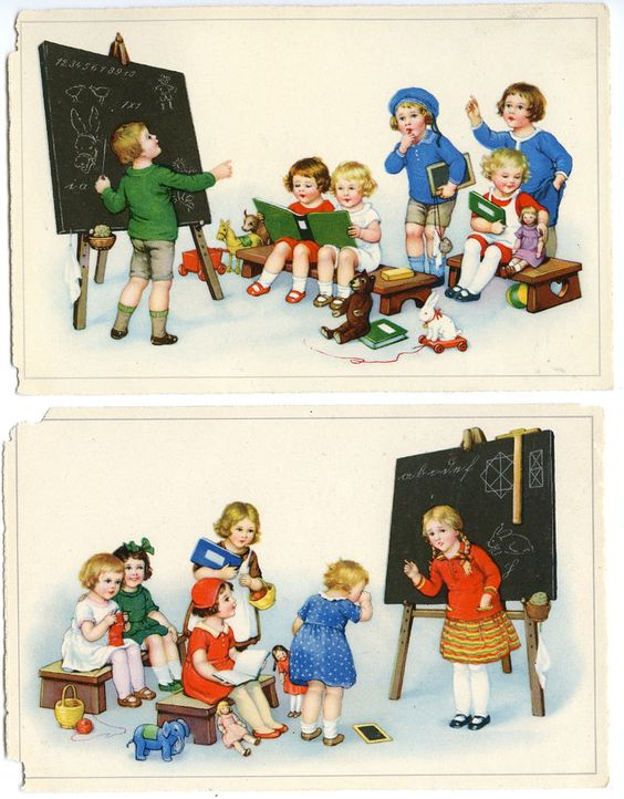 2 cpa enfants theme ecole tableau noir images cole pinterest - Tableau noir enfant ...