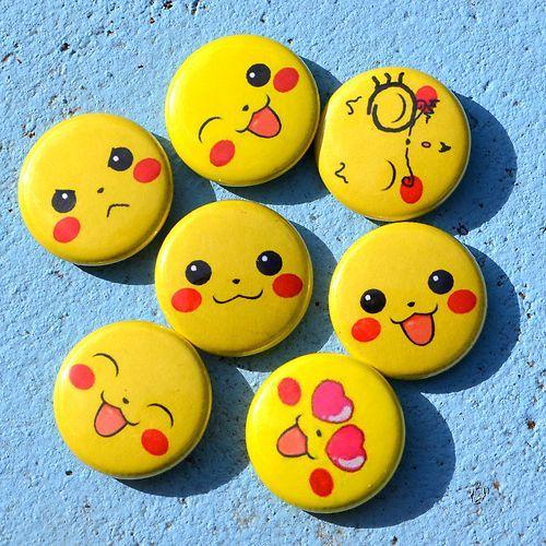 Pokemon Pikachu Faces 1 Buttons Pin Party Favors Set Of 7
