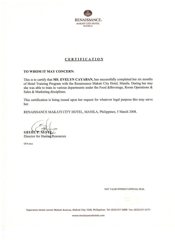 Recommendation letter from Renaissance Makati City Hotel Hotel - to whom it may concern letter