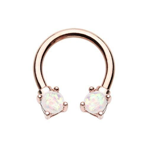 Rose Gold /& Silver Prong Opal Glitter Horseshoe Circular Barbell