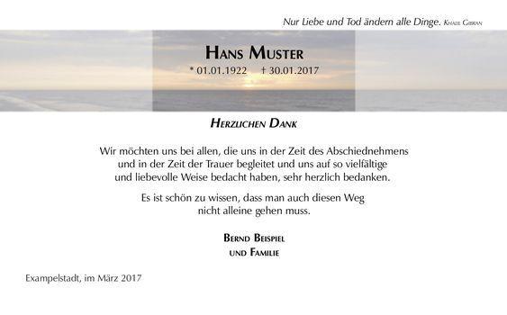 Schone Moderne Danksagungskarte Zur Trauer Motiv Meer Danke Sagen Trauer Danksagungen Trauer