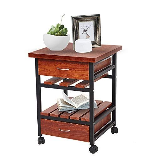 Livebest Rolling Wooden End Table Beside Cabinet Nightstand Dresser Storage Organizer Unit With 2 Dr Living Room Table Small End Tables Table Decor Living Room