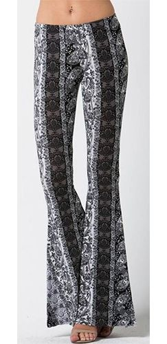 Black White Grey Paisley Elastic Waist Stretch Flare Leg Bell Bottom Pants
