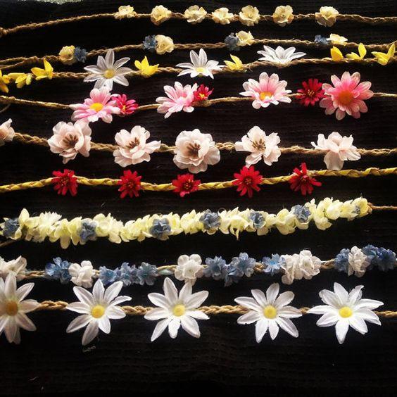 Hippy headbands flower headbands flower crowns flower by MKCMADE, $15.00