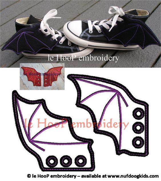 4x4 5x7 BAT DRAGON Shoe Wings Machine Embroidery In-The-Hoop Design Goth Costume Hero Steampunk Fantasy Movie Batman Inspired