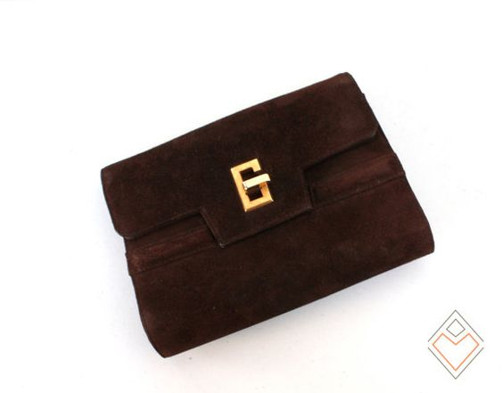 1970s suede clutch with gold tone G turn lock // by AnatomyVintage, $45.00