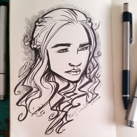 Mother of Dragons. Working on likenesses! #DailyDoodle