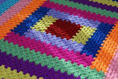 Log cabin crochet blanket i love the color blocks made for Log cabin blanket
