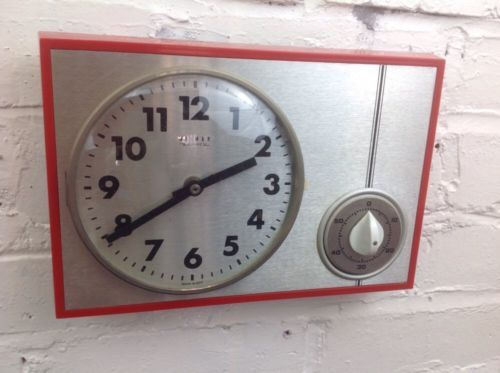 Vintage-Kitchen-Wall-Clock-With-Timer-Made-In-Germany-Mid-Century-Clock