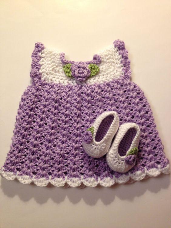 Crochet Baby Dress and Booties, 0-3 Months   Babyhäkelei, Acrylnägel ...