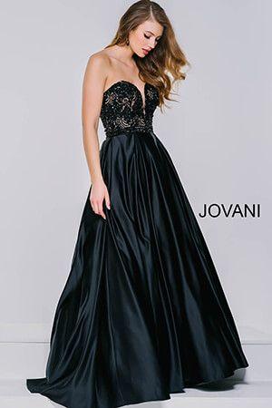 Black Satin A-Line Long Dress 36640  Gowns  Pinterest  Satin ...
