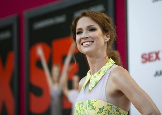 """Cast member Ellie Kemper poses at the premiere of """"Sex Tape"""" in Los Angeles, California July 10, 2014. REUTERS/Mario Anzuoni"""