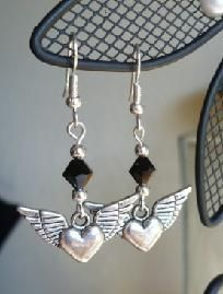 Winged Hearts and Swarovski Crystal Earrings