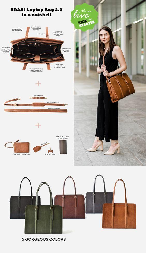 Pre Order Now On Kickstarter The Most Functional Elegant And Comfortable Leather Laptop Bag For Wom Laptop Bag For Women Leather Work Bag Leather Laptop Bag