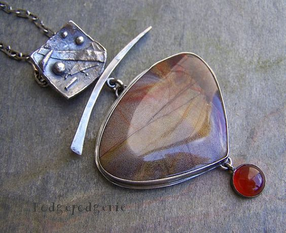 Serape Jasper, Carnelian and Sterling Silver Necklace by hodgepodgerie2  $269.00