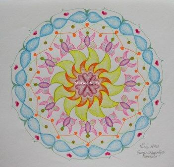 243 Common Mandala, by Miekrea NL - 20 Nov. 2004 (used: crayons and color gel pens, heart stamp)
