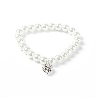 Pearl Bracelet with Crystal Heart Charm