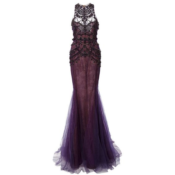 Marchesa Crystal Embroidered Chantilly Lace Mermaid Gown (12,490 CAD) ❤ liked on Polyvore featuring dresses, gowns, halter top, purple ball gown, purple dress, lace mermaid gown and lace dress