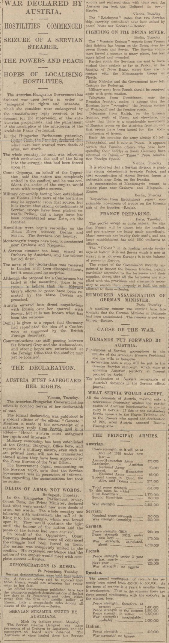 the history of world war i between austria hungary and serbia on july 28 1914 When serbia's response fell short of the demands, austria-hungary declared war on serbia on july 28 more declarations of war austria-hungary had hoped they could quickly take over serbia and that serbia's ally, russia, would not risk a major war in order to help serbia.