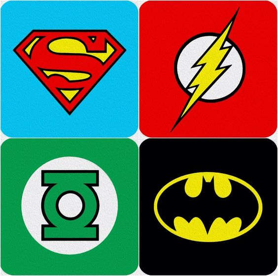 dc comics super hero logo coasters batman the flash superman green