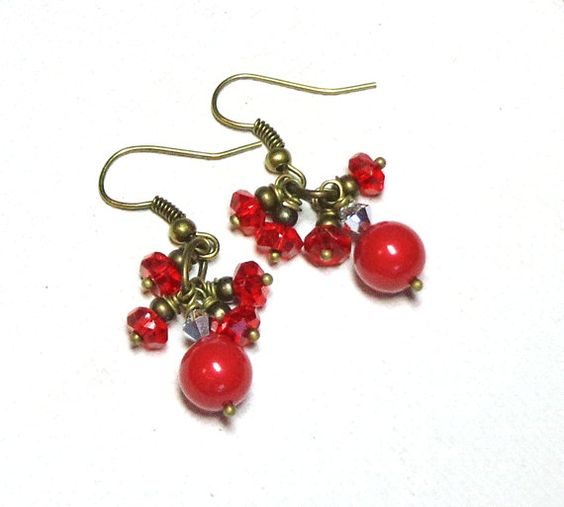 Jewelry Earrings Swarovski Red Crystal Pearls by SpiritCatDesigns, $5.00