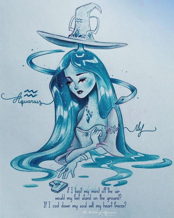 Witch of Aquarius ♒ Bruxinha de Aquário 💙 - Brilhante como diamante, fria como pedra de gelo. Como manter os pés no chão com uma mente voando sem freio? • Intense as diamond bright, cold as ice stone... 💙♒ (swipe left to read the little poem in eng ♡) • #alefvernonzodiac #aquarius #zodiac #aquario #signo