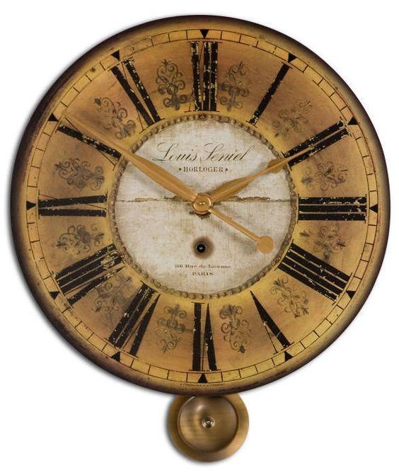 "Old World Tuscan 24"" Pendulum Gallery Mantel Wall Clock Weathered Look…"