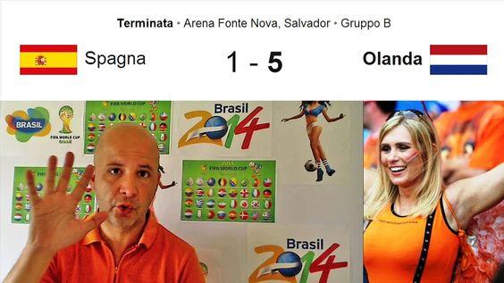 Spagna Olanda 1-5 Van Persie e Robben - Manita Mondiali 2014